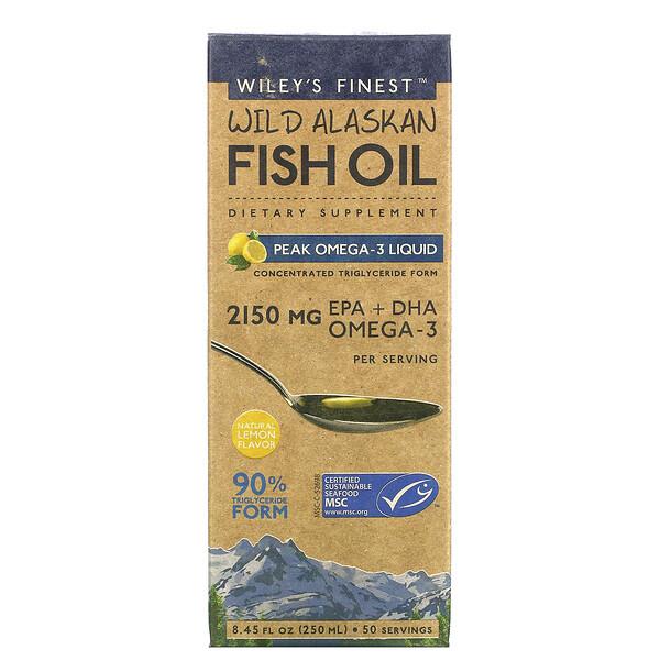 """שמן דגים בר מאלסקה, שיא של אומגה-3, טעם לימון טבעי, 250 מ""""ל (8.45 אונקיות נוזל)"""