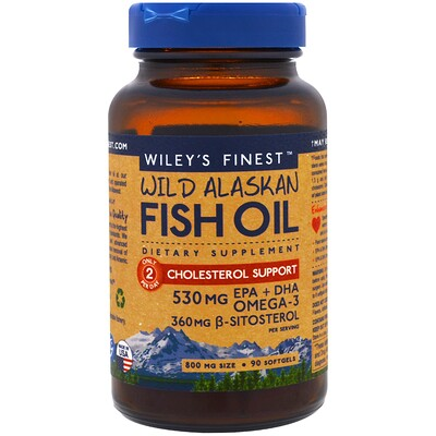Купить Аляскинский рыбий жир, поддержка уровня холестерина, 90 капсул в мягкой оболочке