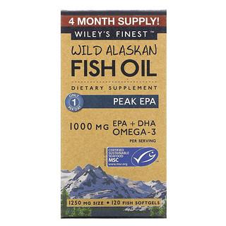 Wiley's Finest, рыбий жир диких аляскинских рыб, максимальное содержание ЭПК, 1250мг, 120рыбных капсул