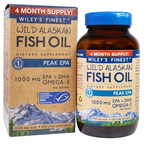 Wild Alaskan Fish Oil, Peak EPA, 1,250 mg, 120 Fish Softgels