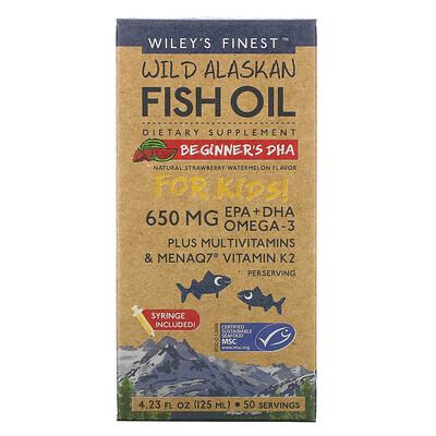 Wiley's Finest жир диких аляскинских рыб, для детей, ДГК для начинающих, натуральный вкус клубники и арбуза, 650мг, 125мл (4,23жидк.унции)