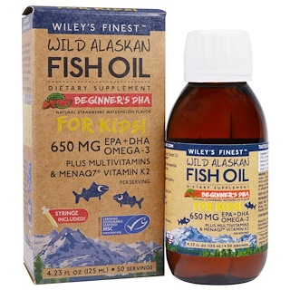 Wiley's Finest, Wild Alaskan Fish Oil, For Kids!, Beginner's DHA, Natural Strawberry Watermelon Flavor, 650 mg, 4.23 fl oz (125 ml)