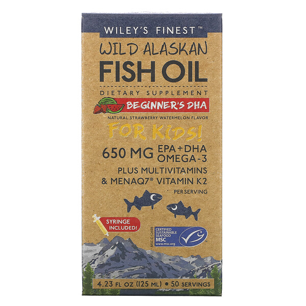 Wild Alaskan Fish Oil, For Kids!, Beginner's DHA, Natural Strawberry Watermelon Flavor, 650 mg, 4.23 fl oz (125 ml)