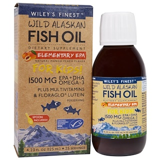 Wiley's Finest, Wild Alaskan Fish Oil, Elementary EPA, For Kids!, Natural Mango Peach Flavor, 1500 mg, 4.23 fl oz (125 ml)