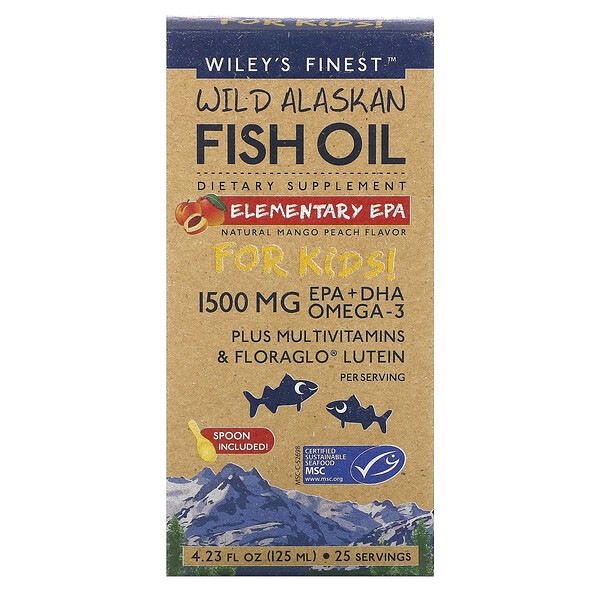 Wild Alaskan Fish Oil, For Kids!, Elementary EPA, Natural Mango Peach Flavor, 1,500 mg, 4.23 fl oz (125 ml)
