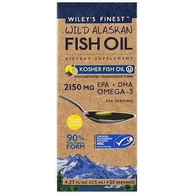 Wiley's Finest 野生阿拉斯加魚油,猶太潔食魚油,天然檸檬味, 4.23 fl oz (125 ml)
