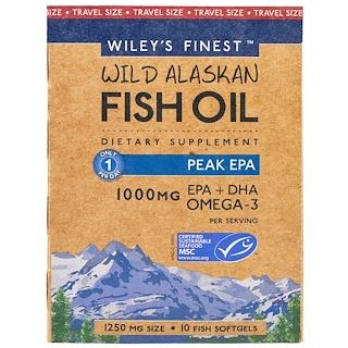 Wiley's Finest, Wiley's Finest, aceite de pescado silvestre de Alaska, Máximo EPA, 1250 mg, 10 cápsulas de gel