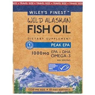 Wiley's Finest, Wiley's Finest، زيت أسماك الألسكا البرية، Peak EPA, 1250 مج، 10 كبسولات هلامية سمك
