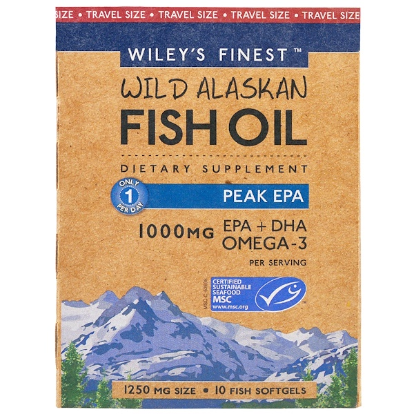 Wiley's Finest, Wild Alaskan Fish Oil, Peak EPA, 1,250 mg, 10 Fish Softgels