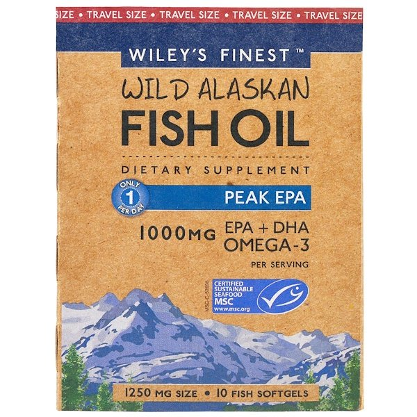 Wiley's Finest, Wild Alaskan Fish Oil, Peak EPA, 1,000 mg, 10 Fish Softgels