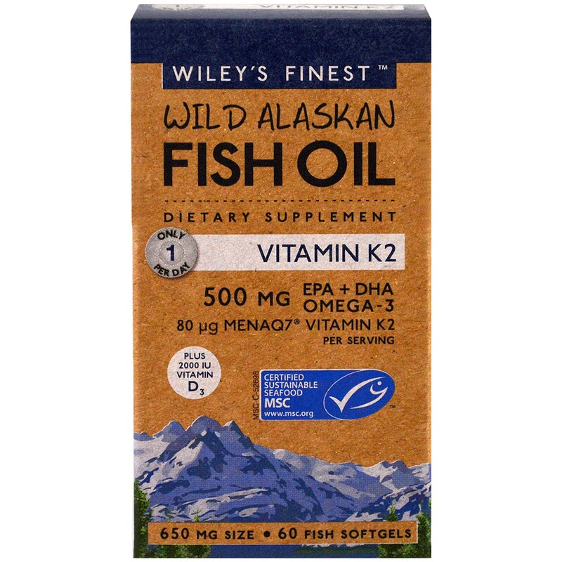 Wiley's Finest, Wild Alaskan Fish Oil, Vitamin K2, 60 Fish Oil Softgels - photo 1