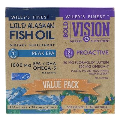 Wiley's Finest Bold Vision視力䃼充剤,預防,野生阿拉斯加魚油,Peak EPA,超值裝,550毫克和1250毫克,60粒和30粒軟膠囊