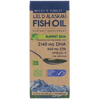 Wiley's Finest, Summit DHA, жир дикой аляскинской рыбы, с натуральным вкусом лайма, 125мл (4,23жидкой унции)