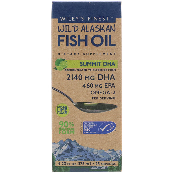 Wild Alaskan Fish Oil, Summit DHA, Natural Lime Flavor, 4.23 fl oz (125 ml)