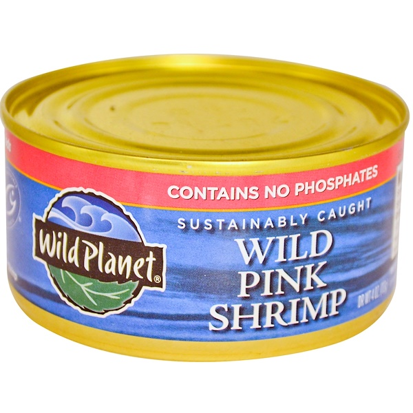 Wild Planet, Sustainably Caught, Wild Pink Shrimp, 4 oz (113 g) (Discontinued Item)