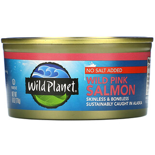 Wild Planet, Wild Pink Salmon, No Salt Added, 6 oz (170 g)