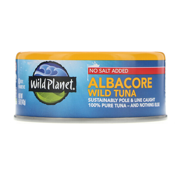 Wild Planet, Wild Albacore Tuna, No Salt Added, 5 oz (142 g)