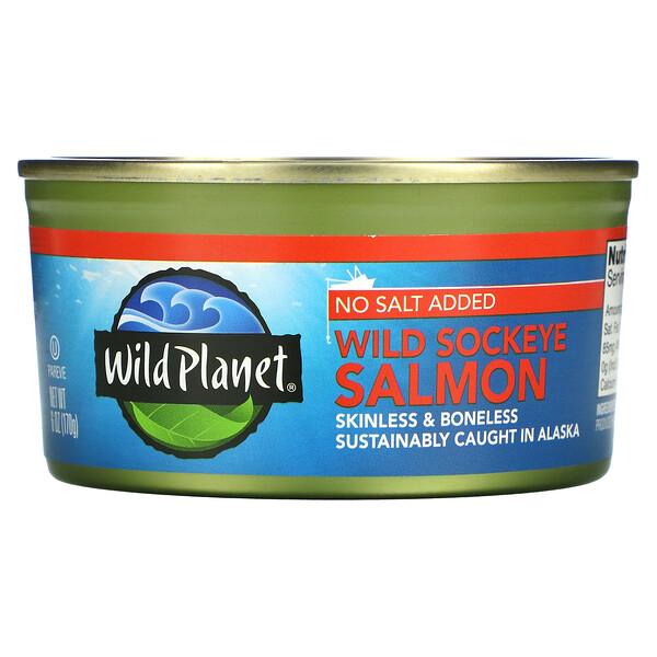Wild Sockeye Salmon, No Salt Added,  6 oz (170 g)
