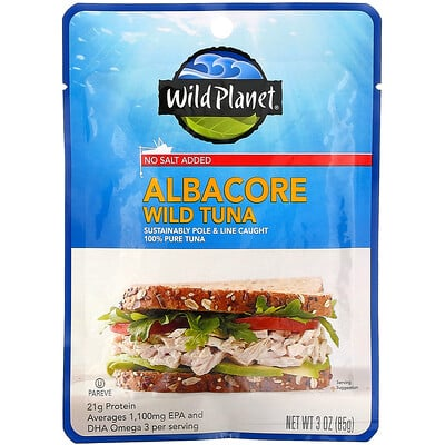 Купить Wild Planet Albacore Wild Tuna, No Salt Added, 3 oz (85 g)