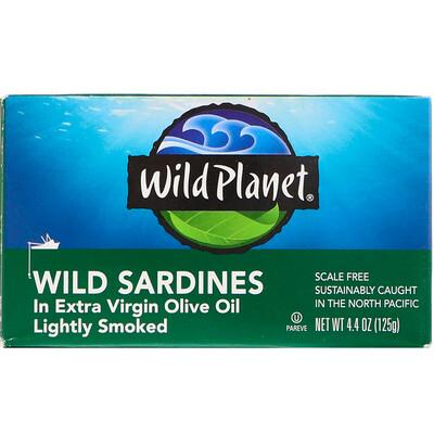 Купить Wild Planet Сардины, выловленные в диких условиях, в оливковом масле первого отжима, Слегка подкопченные, 4, 4 унц. (125 г)