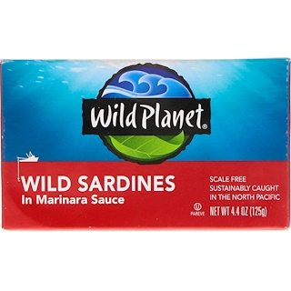 Wild Planet, Wild Sardines في صلصة مارينارا، 4.375 أوقية (125 غ)