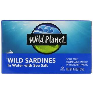 Wild Planet, سردين بري في الماء مع أملاح البحر، 4.4 أونصة (125 غ)