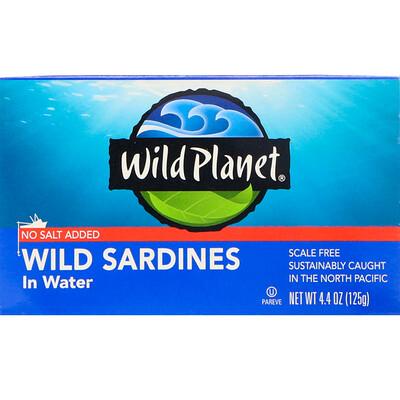 Wild Planet Сардины, выловленные в диких условиях, в воде, Без добавления соли, 4, 4 унц. (125 г)  - купить со скидкой