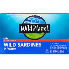 Wild Planet, Wild Sardines In Water, No Salt Added, 4.4 oz (125 g)