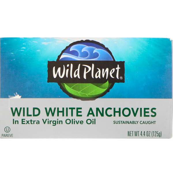 Wild Planet, Wild White Anchovies In Extra Virgin Olive Oil, 4.4 oz (125 g)