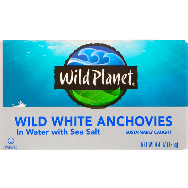 Wild Planet, Wild White Anchovies in Water With Sea Salt, 4.4 oz (125 g)