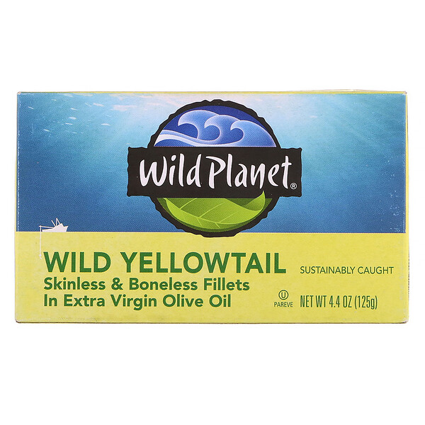 Wild Planet, Wild Yellowtail Skinless & Boneless Fillets In Extra Virgin Olive Oil, 4.25 oz (120 g)