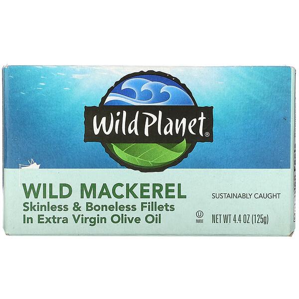 Wild Mackerel, Skinless & Boneless Fillets in Extra Virgin Olive Oil, 4.4 oz (125 g)