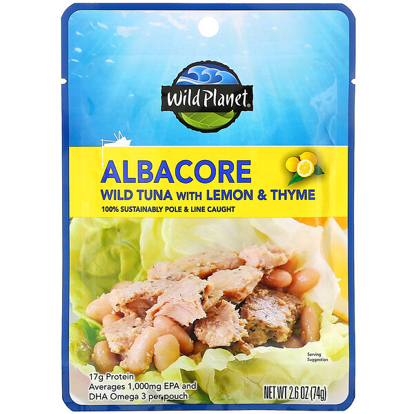 Wild Planet, Albacore Wild Tuna with Lemon & Thyme, 2.6 oz (74 g)