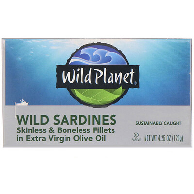 Купить Wild Planet Wild Sardines Skinless & Boneless Fillets In Extra Virgin Olive Oil, 4.25 oz (120 g)