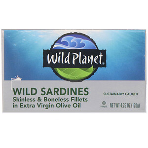 Wild Planet, Wild Sardines Skinless & Boneless Fillets In Extra Virgin Olive Oil, 4.25 oz (120 g)