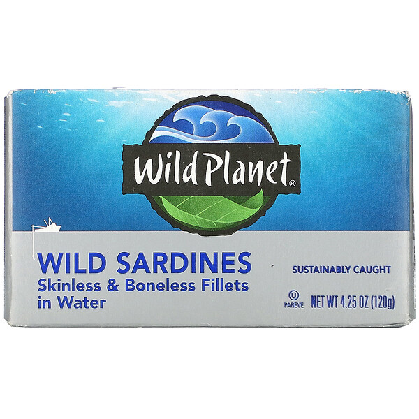 Wild Planet, Wild Sardines, Skinless & Boneless Fillets in Water, 4.25 oz (120 g)