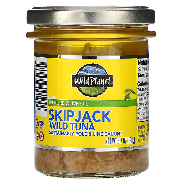 Wild Planet, Skipjack Wild Tuna in Pure Olive Oil, 6.7 oz (190 g)
