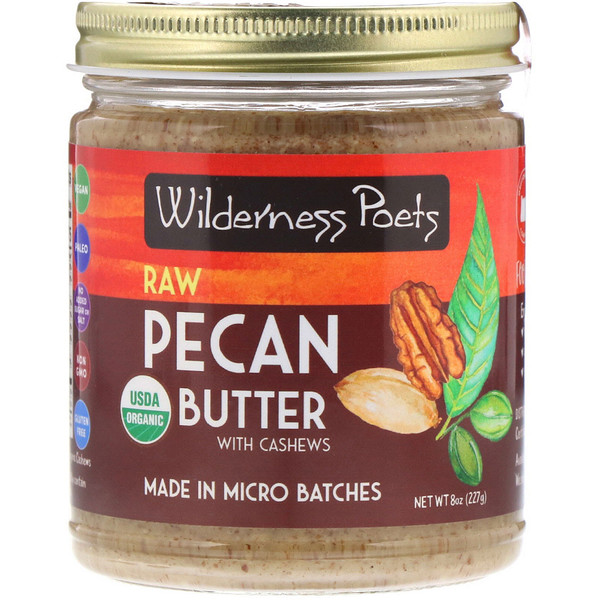 Wilderness Poets, Organic Raw Pecan Butter with Cashews, 8 oz (227 g)