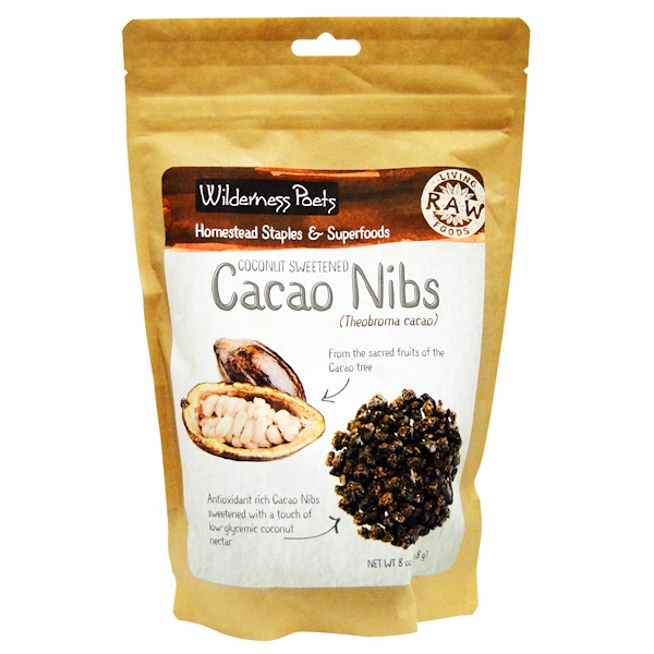 Wilderness Poets, Raw Living Foods, Cacao Nibs, Coconut Sweetened, 8 oz (226.8 g)