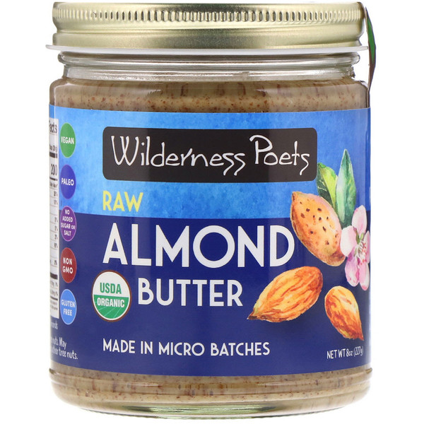 Wilderness Poets, Organic Raw Almond Butter, 8 oz (227 g)