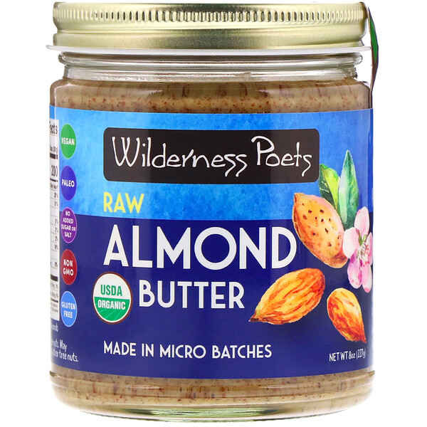 Wilderness Poets, Organic, Raw Almond Butter, 8 oz (227 g)