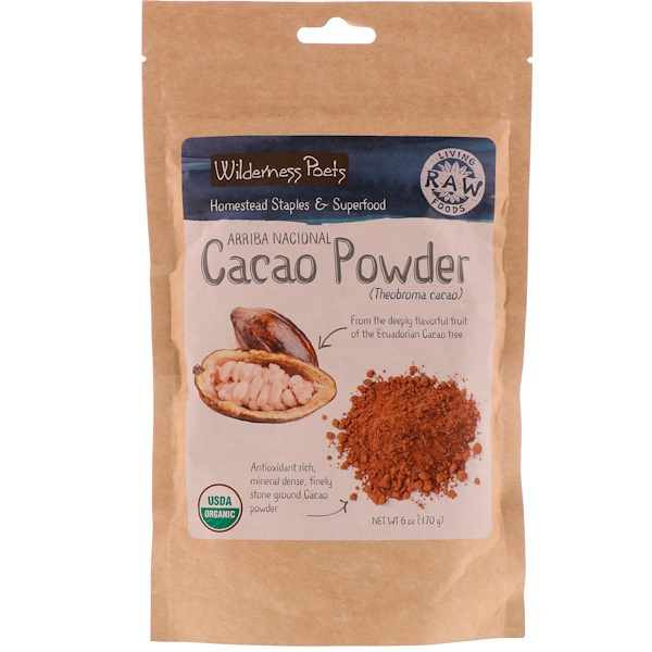 Wilderness Poets, Arriba Nacional Cacao Powder,6盎司(170克)。 (Discontinued Item)