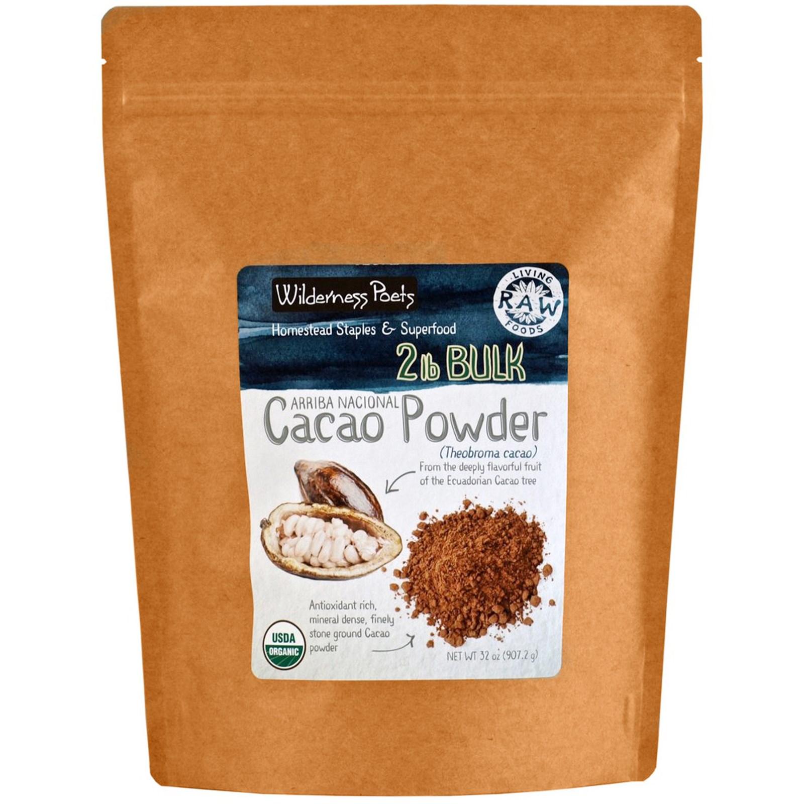 Wilderness Poets, Arriba Nacional, Cacao Powder, Theobroma Cacao, 32 oz (907.2 g)