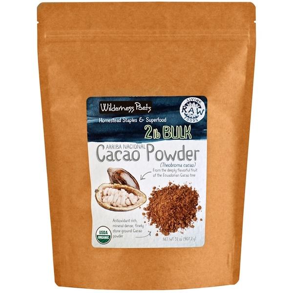Wilderness Poets, Arriba Nacional, Cacao Powder, Theobroma Cacao, 32 oz (907、2 g)