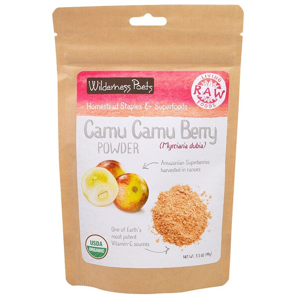 Wilderness Poets, Living Raw Foods, Camu Camu Berry Powder, 3.5 oz (99 g)