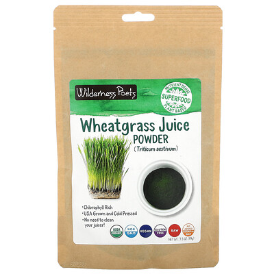 Wilderness Poets Organic Wheatgrass Juice Powder, 3.5 oz (99 g)