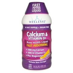 Wellesse Premium Liquid Supplements, Calcium & Vitamin D3, Sugar Free, Natural Citrus Flavor, 16 fl oz (480 ml)