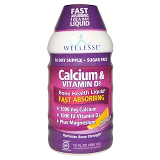 Wellesse Premium Liquid Supplements, 칼슘 & 비타민 D3, 무설탕, 천연 감귤류 맛, 16 fl oz (480 ml)