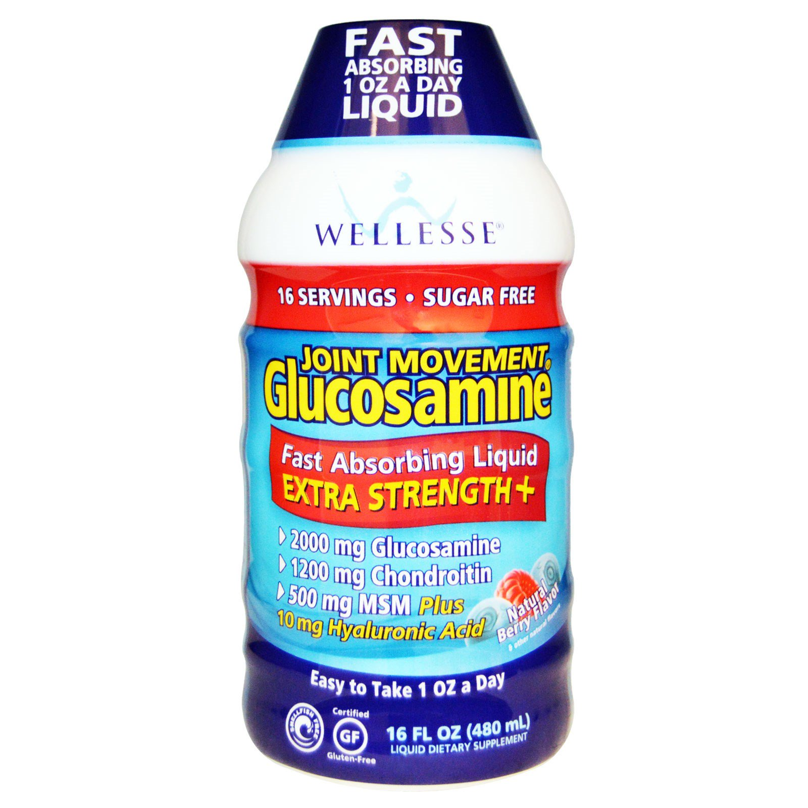 Wellesse Premium Liquid Supplements, Joint Movement Glucosamine, глюкозамин для подвижности суставов, натуральный ягодный вкус, 16 жидких унций (480 мл)
