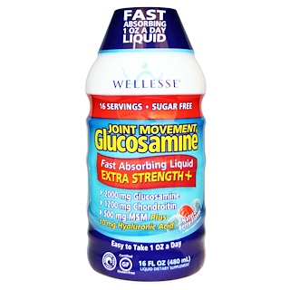Wellesse Premium Liquid Supplements, Joint Movement Glucosamine, Natural Berry Flavor, 16 fl oz (480 ml)